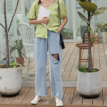 Women's large Summer 2020 blue Large XL, 2XL, 3XL, 4XL Jeans commute moderate Solid color Korean version Denim Other / other 18-24 years old hole 51% (inclusive) - 70% (inclusive) trousers