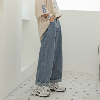 Women's large Summer of 2019 wathet Large XL, 2XL, 3XL, 4XL Jeans commute Solid color Korean version Denim Other / other 18-24 years old pocket trousers