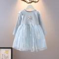 Dress Light blue, pink, blue, pink female Other / other 80cm,90cm,100cm,110cm,120cm,130cm Cotton 80% other 20% spring and autumn Korean version Long sleeves Broken flowers cotton Splicing style