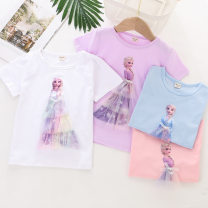 T-shirt Other / other 100cm,110cm,120cm,130cm,140cm female summer Short sleeve Crew neck Korean version No model Netting Cartoon animation Class B hygroscopic and sweat releasing 12 months, 18 months, 2 years old, 3 years old, 4 years old, 5 years old, 6 years old, 7 years old, 8 years old bow