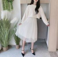 Dress Spring 2020 Off white, pink, light green S,M,L,XL longuette Two piece set Long sleeves Sweet Crew neck High waist Solid color Socket Pleated skirt bishop sleeve Type A Flocking, pleating, chain, button, mesh, lace knitting princess