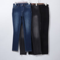 Jeans Autumn of 2019 S,L,XL trousers High waist Pencil pants routine Wash and whiten Cotton elastic denim Dark color Sindarin / Sindarin