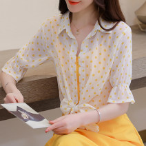 Lace / Chiffon Summer 2021 S,M,L,XL,2XL Short sleeve commute Cardigan singleton  easy have cash less than that is registered in the accounts stand collar Dot pagoda sleeve Lunkeyidu FT-006 Korean version