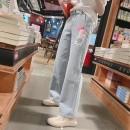 Jeans Spring 2021 Light blue, light blue spot S,M,L trousers Natural waist Wide legged trousers routine Make old, wash, zipper, button, patch, multi pocket Striped denim light colour 81% (inclusive) - 90% (inclusive)