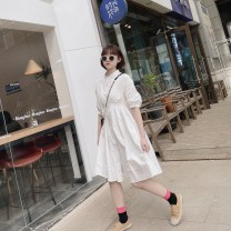 Dress Spring 2021 White, white stock Average size Mid length dress singleton  Short sleeve Sweet stand collar Elastic waist Solid color Single breasted Big swing puff sleeve Others Button More than 95% other cotton Mori