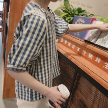 shirt Blue check, blue check in stock Average size Spring 2021 cotton 96% and above Short sleeve Sweet Regular Crew neck Socket puff sleeve lattice Straight cylinder Bowknot, Gouhua, hollowing out, splicing, nailing bead, sticking cloth Ruili cotton