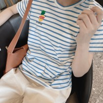 T-shirt Blue stripe, blue stripe in stock Average size Spring 2021 Short sleeve Crew neck Straight cylinder Regular routine Sweet cotton 96% and above youth Plants, flowers, letters, thick stripes Embroidery Ruili