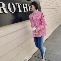 shirt Blue, pink, pink stock, blue stock Average size Spring 2021 cotton 96% and above Long sleeves Sweet Regular Admiral Single row multi button bishop sleeve Broken flowers Straight cylinder Button Ruili cotton