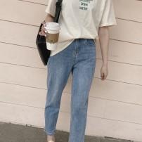 Jeans Spring 2021 Light blue, light blue spot S,M,L,XL trousers Natural waist Straight pants routine Old, wash, zipper, button, multi pocket Cotton elastic denim light colour 96% and above