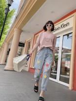 Jeans Summer 2021 trousers Natural waist Straight pants Thin Old, worn, white, zipper, pattern, button, multi pocket Striped denim light colour 96% and above S,M,L,XL Light blue, light blue spot