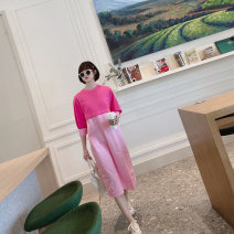 Dress Spring 2021 Pink, pink in stock Average size Mid length dress singleton  three quarter sleeve Sweet Crew neck Loose waist other Socket One pace skirt bishop sleeve Others Type H Button, button More than 95% other cotton Ruili