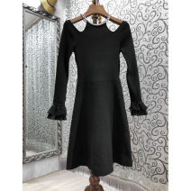 Dress Spring 2021 black S,M,L Short skirt singleton  Long sleeves Sweet Crew neck High waist Solid color Socket A-line skirt pagoda sleeve 25-29 years old Type A Petty bourgeoisie 51% (inclusive) - 70% (inclusive) solar system