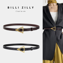 Belt / belt / chain Double skin leather Black Caramel Brown female belt Versatile Single loop Middle aged youth Pin buckle Glossy surface Glossy surface 1.8cm alloy Smooth frosted candy color elastic BILLI ZILLY BZ20M12113087 95cm 105cm Winter 2020 no