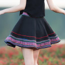 skirt Spring 2021 M,L,XL,2XL black Short skirt commute Umbrella skirt Solid color Type O 25-29 years old 6190# nylon printing ethnic style
