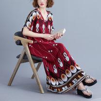 Dress Summer 2021 Decor Average size longuette singleton  commute V-neck High waist 25-29 years old Type H Retro 91% (inclusive) - 95% (inclusive) other cotton