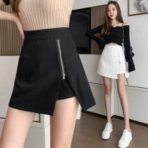 skirt Spring 2021 S,M,L,XL White, black Short skirt commute High waist skirt Solid color 25-29 years old 848# Asymmetry Korean version