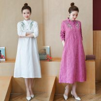 Women's large Winter of 2019 White, red, pink, yellow Large XL, large XXL, large XXL, large L Dress singleton  commute easy moderate Socket Long sleeves Decor ethnic style stand collar Medium length cotton Three dimensional cutting routine 3068 Long Sleeve Dress Big size Embroidery Medium length