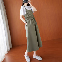 Dress Summer 2021 Army green M,L,XL,2XL Mid length dress Sleeveless commute Solid color A-line skirt straps 18-24 years old literature Pocket, lace up, panel, button More than 95% cotton