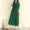 Women's large Spring 2020 Black, red, green Large XL, large XXL, large L, M Dress singleton  commute easy moderate Socket Nine point sleeve Solid color literature stand collar Medium length cotton routine 1352# Embroidery 31% (inclusive) - 50% (inclusive) Medium length