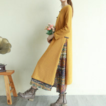 Women's large Spring 2021 Black, yellow Large XL, large XXL, large L, m (about 100kg recommended) Dress Fake two pieces commute easy moderate Socket Long sleeves Decor, solid literature V-neck Medium length Cotton, polyester routine 1355# 31% (inclusive) - 50% (inclusive) Medium length
