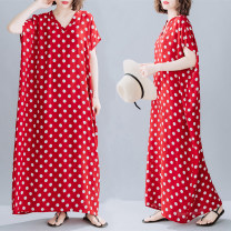 Dress Summer 2021 gules Average size longuette singleton  Short sleeve commute V-neck Loose waist Dot Socket other routine Others 35-39 years old Type H Retro printing 91% (inclusive) - 95% (inclusive) other cotton