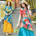 Dress Summer 2020 singleton  commute Crew neck Elastic waist Big flower Socket routine Others 18-24 years old Type X Edora literature cotton