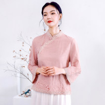 shirt Lotus root Pink M,L,XL,2XL Summer 2021 hemp 71% (inclusive) - 80% (inclusive) three quarter sleeve Original design Regular stand collar routine 35-39 years old Self cultivation 8629# Embroidery Chiffon
