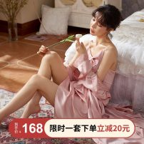 Nightdress Sleep right / Mrs. slim 160(M),165(L),170(XL),175(XXL) sexy Long sleeves pajamas Middle-skirt spring Solid color youth V-neck Polyester (polyester) Lotus leaf edge More than 95% Iced silk 260g