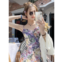 Dress Summer 2021 Purple S,M,L Short skirt singleton  Sleeveless commute other High waist Decor zipper Ruffle Skirt other Others 25-29 years old Type X Fish rabbit's rabbit printing 91% (inclusive) - 95% (inclusive) other polyester fiber