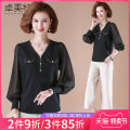 Middle aged and old women's wear Spring 2021 Black with black pants, black without pants, 3 with 4 without pants, 5 with 6 without pants M L XL XXL fashion T-shirt easy Two piece set Solid color 40-49 years old Socket moderate V-neck have cash less than that is registered in the accounts routine