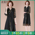 Middle aged and old women's wear Spring 2021 black XL XXL XXXL XXXXL fashion Dress easy singleton  Decor 40-49 years old Socket moderate V-neck Medium length routine Dromett Bandage polyester Polyester 100% 96% and above Pure e-commerce (online only) Medium length Polyester