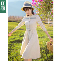 Dress Spring 2021 Apricot stripe - spot apricot stripe - 10 days in advance S M L XL longuette singleton  Long sleeves commute stand collar middle-waisted stripe Socket A-line skirt routine Others 25-29 years old Type A Hongnian literature Embroidered pocket button zipper L21B6210 cotton