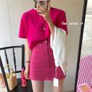 skirt Spring 2021 S,M,L Black, white, green, brown, rose pink Short skirt Versatile Natural waist A-line skirt Solid color