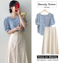 Fashion suit Summer 2020 S,M,L,XL Blue shirt, white shirt, skirt 18-25 years old Other / other 91% (inclusive) - 95% (inclusive) cotton