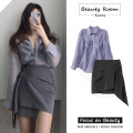 Fashion suit Autumn 2020 S,M,L,XL Grey skirt, blue shirt 18-25 years old 31% (inclusive) - 50% (inclusive)