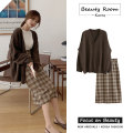 Fashion suit Autumn 2020 S,M,L,XL Brown cardigan, plaid skirt 18-25 years old 81% (inclusive) - 90% (inclusive)