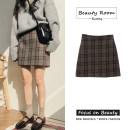 skirt Winter of 2018 S,M,L,XL grey Short skirt commute High waist A-line skirt lattice Type A 18-24 years old Other / other Korean version