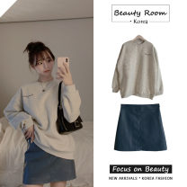 skirt Spring 2021 S,M,L,XL Small blue leather skirt , Grey sweater Short skirt Versatile High waist A-line skirt Solid color Type A 18-24 years old