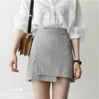 skirt Spring of 2018 S,M,L,XL Short skirt commute High waist skirt lattice Type A 18-24 years old 51% (inclusive) - 70% (inclusive) brocade Asymmetry Korean version