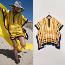 Dress Summer 2020 yellow S,M,L,XL Short skirt singleton  Short sleeve street Crew neck Loose waist Dot Socket A-line skirt Bat sleeve Others Type A Other / other Stitching, printing Europe and America