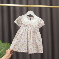 Dress Purple, green female Baobao elephant 90cm,100cm,110cm,120cm,130cm Cotton 95% polyurethane elastic fiber (spandex) 5% summer Korean version Short sleeve Broken flowers cotton A-line skirt Class A 3 months, 12 months, 6 months, 9 months, 18 months, 2 years old, 3 years old, 4 years old