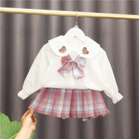 suit Baobao elephant Blue, pink 80cm,90cm,100cm,110cm,120cm female spring and autumn Korean version Long sleeve + skirt 2 pieces routine No model Single breasted nothing lattice cotton children Expression of love Class A Cotton 95% polyester 5% Chinese Mainland