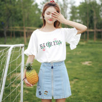 T-shirt 463 * letter flower embroidery white M,L,XL,XXL Summer of 2019 Short sleeve Crew neck easy Regular pagoda sleeve Sweet polyester fiber 86% (inclusive) -95% (inclusive) 18-24 years old Plants and flowers Eternal declaration Splicing college