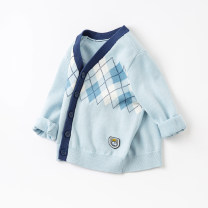 Sweater / sweater 66cm,73cm,80cm,90cm,100cm,110cm,120cm,130cm Pure cotton (100% cotton content) male Light blue, [pre sale] DAVE&BELLA Europe and America No model Single breasted routine V-neck nothing Fine wool other Cotton 100% DBH15918 Class A Chinese Mainland