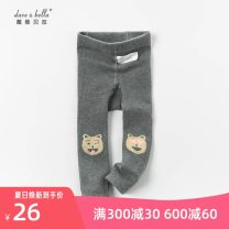 trousers DAVE&BELLA female 66cm,80cm,90cm,100cm,110cm,120cm,130cm Chinese hemp ash spring and autumn trousers Cartoon No model Leggings Leather belt middle-waisted cotton Don't open the crotch Other 100% DB13712 Class A DB13712 Chinese Mainland Zhejiang Province Hangzhou
