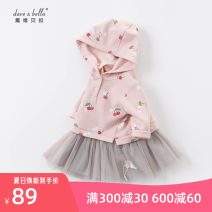Dress Cherry print female DAVE&BELLA 66cm,73cm,80cm,90cm,100cm,110cm,120cm,130cm Other 100% spring and autumn Europe and America Long sleeves Cartoon animation cotton Splicing style DBJ14542 Class A Chinese Mainland Zhejiang Province Hangzhou