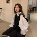 Dress Autumn 2020 One piece white shirt, one piece suspender skirt, one piece white shirt + suspender skirt S,M,L,XL Mid length dress Two piece set Long sleeves commute Crew neck Loose waist Solid color Socket Princess Dress routine straps 18-24 years old Type A Korean version Embroidery