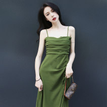 Dress Summer 2021 Avocado color S,M,L longuette singleton  Sleeveless commute One word collar High waist Solid color Socket A-line skirt routine camisole 18-24 years old Type A backless polyester fiber