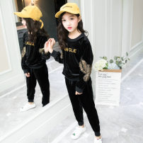 suit Star years black 120cm,130cm,110cm,140cm,150cm,160cm spring Korean version Long sleeve + pants 2 pieces routine There are models in the real shooting Socket letter polyester Class B 7, 8, 9, 10, 12, 13, 14