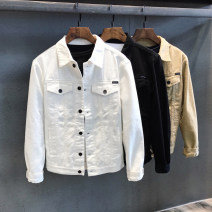 Jacket Other / other Youth fashion M,L,XL,2XL,3XL,4XL routine Self cultivation Other leisure spring Long sleeves Wear out Lapel tide youth routine Single breasted 2021 Cloth hem washing Loose cuff Solid color Denim More than two bags) Digging bags with lids cotton